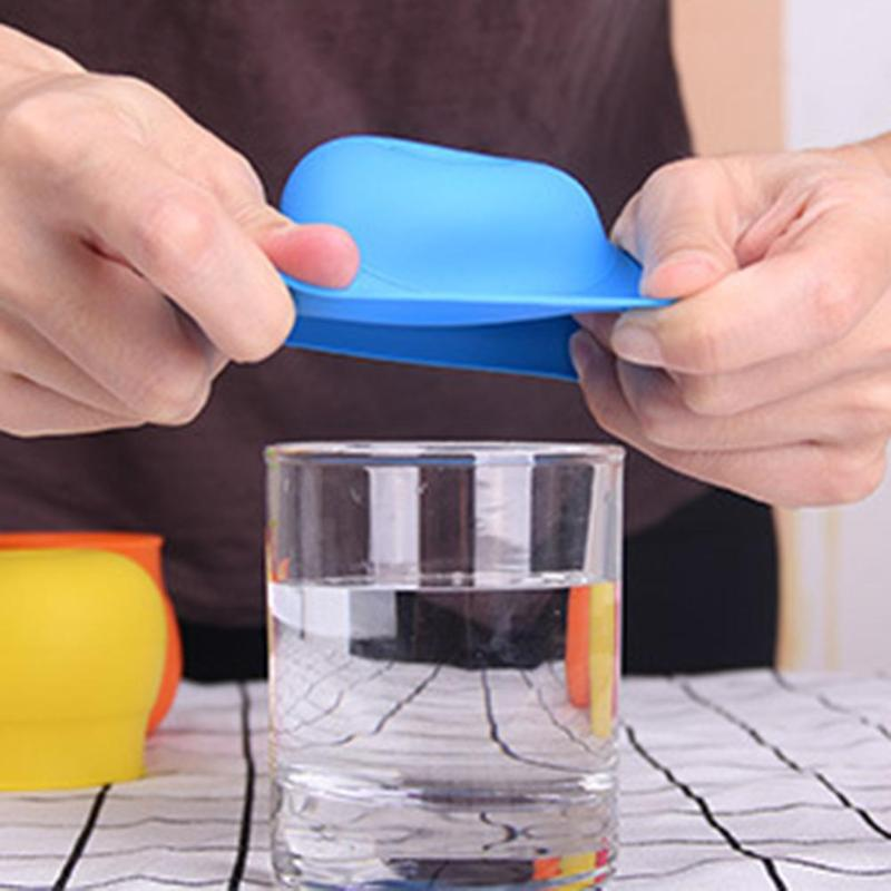 2018 Candy Color Silicone Sippy Lids Creative Baby Sippy Lids Drinking Stretchable Leakproof Cup For 50-80mm Cup Color Random