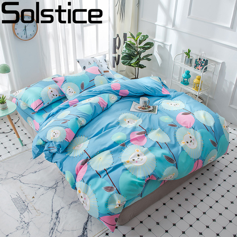 Solstice Home Textile Blue Duvet Cover Pillowcase Bed Sheet Boy Kid Bedding Set King Full Twin Girl Teen Linen 3-4Pcs Bedclothes