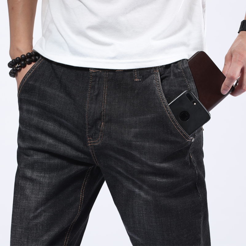 Plus Size 44 46 48  Jeans  Man High Quality Straight Long Slim Trousers Fashion Casual Denim Male Business Jeanswear