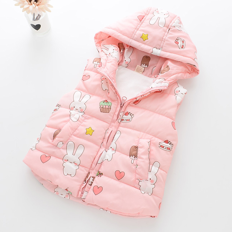 2018 Autumn Winter New Baby Girls Clothes Cartoon Pattern Plus Velvet Thickening Hooded Vest For Girls Clothes Kids Clothes