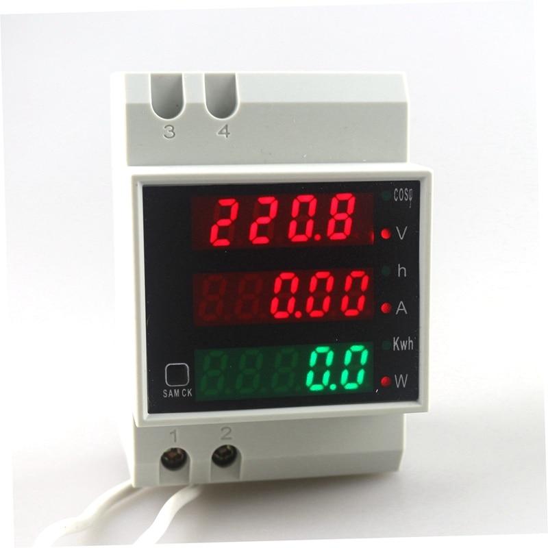 цена на Din Rail  AC 80-300V 0-100.0A Ammeter Voltmeter Volt Amp Meter LED Display Active Power Power Factor Time Energy Voltage Current