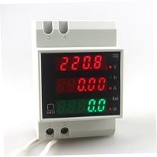 Din Rail  AC 80-300V 0-100.0A Ammeter Voltmeter Volt Amp Meter LED Display Active Power Power Factor Time Energy Voltage Current