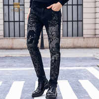 Fanzhuan 2018 Free Shipping New Male fashion men's jeans trousers 95% cotton printed personality washed denim SLIM pants 828083