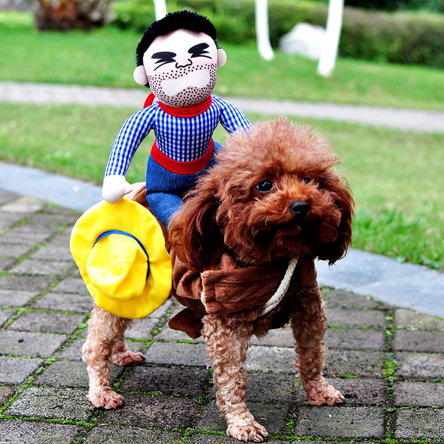 2016 Novelty Funny Dog Costume Pet clothes Cowboy Dressing up Jacket for Small Medium Large Dogs Chihuahua Yorkshire Poodle XL