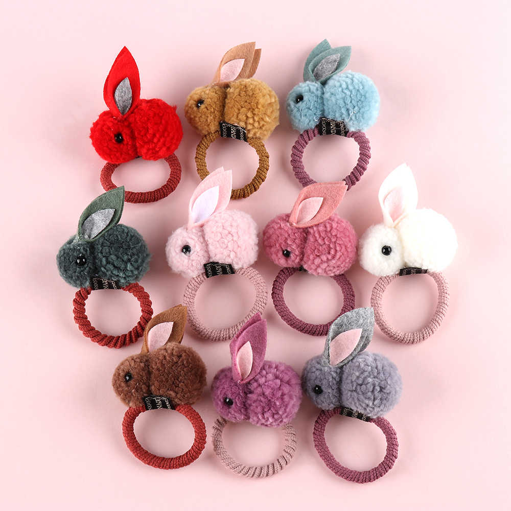 Korean Women Hair Rope Rubber Band Cute Girls Plush Rabbits Hair Clip Ponytail Holder 3D Animal Kids Barrettes Hair Accessories