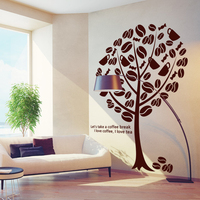 Coffee Shop Vinyl Wall Decal Coffee Tree Coffee Sign Cups Beans Mural Art Wall Sticker Coffee Shop Bar Home Decoration