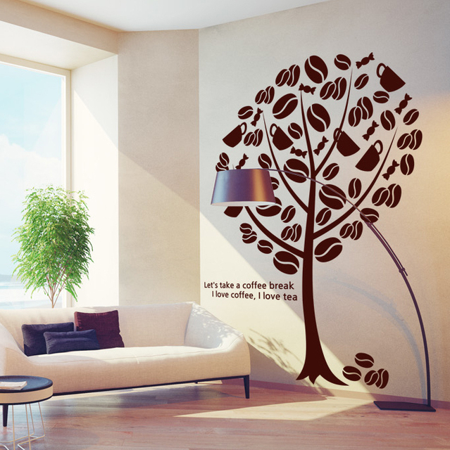 Coffee Shop Vinyl Wall Decal Coffee Tree Coffee Sign Cups Beans Mural Art  Wall Sticker Coffee