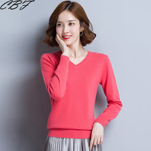 Traditional leisure Women's Knitted Cashmere Wool Sweater V-collar Solid color High-quality Keep warm Pullovers Free shipping(China)
