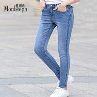 Monbeeph نمط المرأة الدينيم جينز سروال نحيل الظلام الأزرق و الضوء الأزرق جينز سروال رصاص بنطلون جينز السراويل السوداء