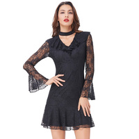 Kate Kasin Women Sexy Lace Dress Black High Neck Hollowed Front Long Sleeve Gothic Victorian Punk