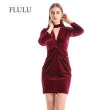 207166614479a FLULU Sonbahar Kış Elbise Kadın 2018 Yeni Vintage Katı Kadife Elbise Zarif  Seksi Ince Kadın Vestidos Derin V Boyun Parti elbisel.