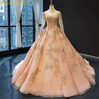 Dubai Luxury Design Champagne Evening Dresses 2019 O Neck Long Sleeve Beading Sequined Evening Gowns Robe De Soiree Avondjurk