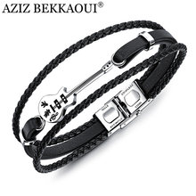 AZIZ BEKKAOUI Unique Stainless Steel Guitar Bracelets Customized Logo Leather Bracelet for Men Rope Bangle Drop shipping(China)