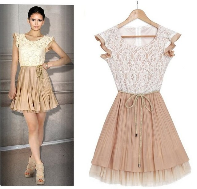The Vampire Diary Nina Dobrev Lace Pleated Ombre Dress with Woven Belt Film Star Celebrity Party Dresses Free Shipping yn021