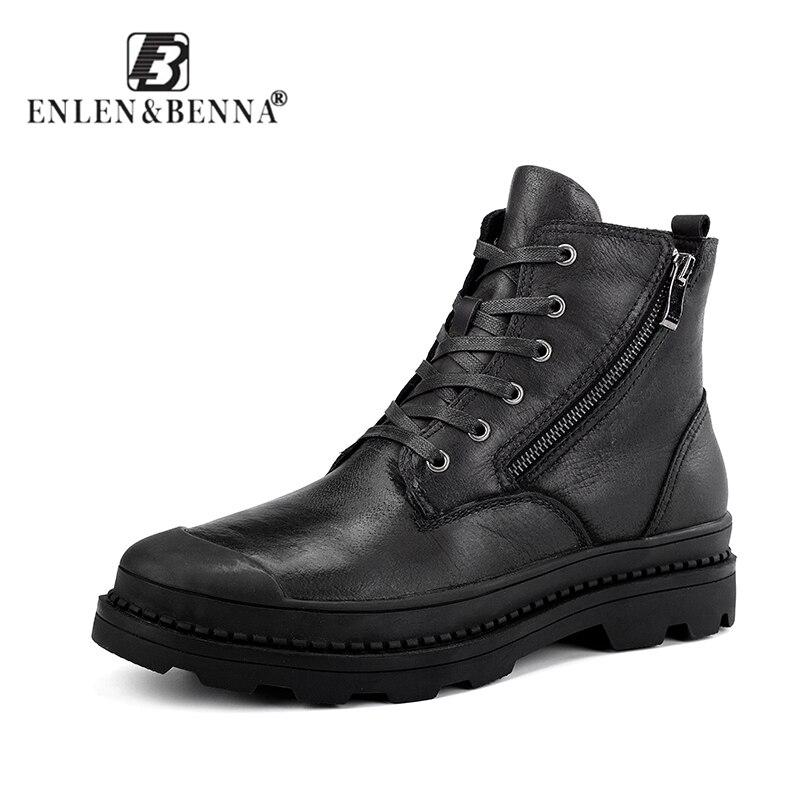 Классические Кожаные мужские зимние ботинки с мехом, сохраняющие тепло, модные зимние ботинки унисекс, высокое качество, винтажный стиль, З...