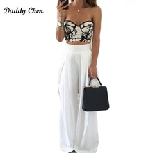 Daddy Chen Summer Women High Waist Wide Leg Pants Sexy fashion loose Side Zipper Pockets Chiffon black white Trousers Party 2017