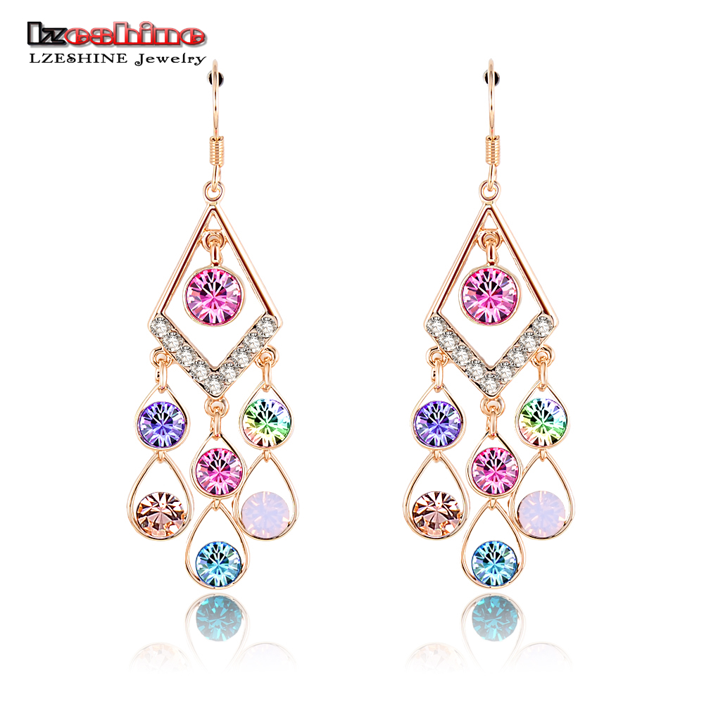 LZESHINE 2016 Vintage Long Earring Gold Color Austrian Crystal Earring Jewelry For Women  Pendientes 48*20mm ER0039-C