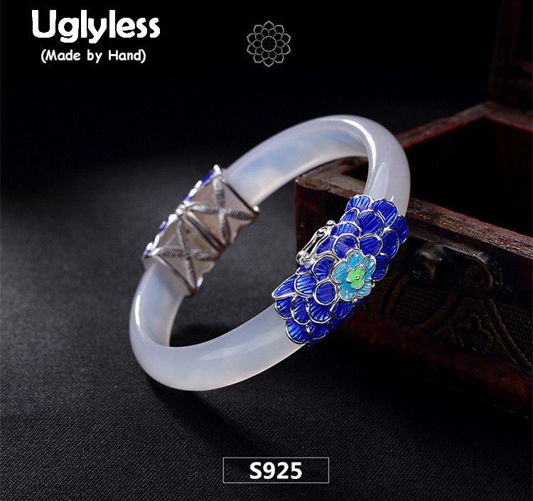 Uglyless Real S 925 Sterling Silver Natural White Chalcedony Bangles Women Luxury Statement Wide Bangle Enamel Blue Fine Jewelry blue original letter wide bangle