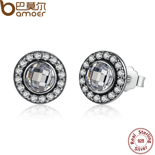 Authentic 925 Sterling Silver Brilliant Legacy Stud Earrings With Clear CZ for Women Anniversary Jewelry