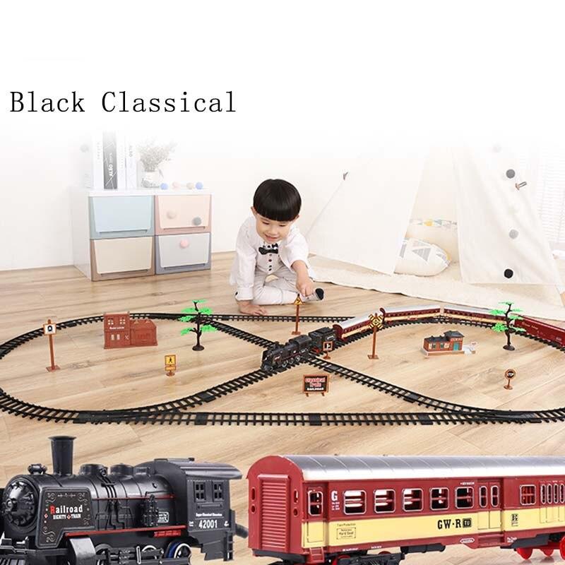 Tren de carreras eléctrico para niños, tren de pista, modelo de tren para bebés, tren de carreras, transporte por carretera, juegos de ranura para edificios, juguetes para niños