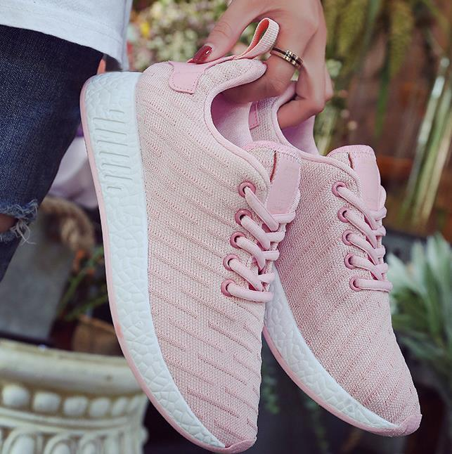 55d0387a36 Mulheres confortáveis sapatilhas air mesh primavera outono shoes sólido  preto branco rosa sapatos femininos zapatillas mujer plus tamanho 34 40 em  Vulcanize ...