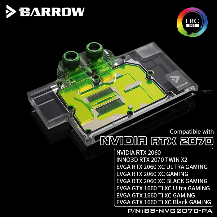 BARROW Water Block use for NVIDIA RTX2070 Founders Edition Reference Edition EVGA 2060 GTX1660Ti Full Cover