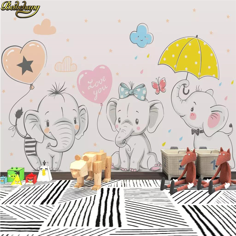 Us 8 85 41 Off Beibehang Custom Modern Minimalistic Colorful Cute Cartoon Elephant Wallpaper For Kids Room Background Photo Wall Paper Bedroom In