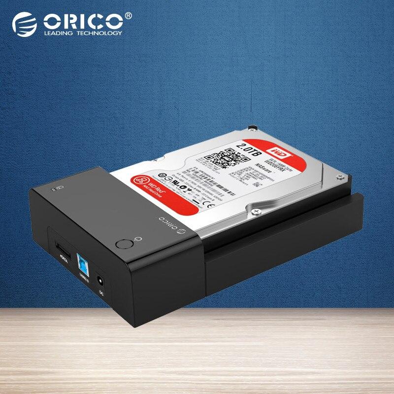 ORICO Tool-Free USB 3.0 & eSATA to 2.5 Inch & 3.5 Inch SATA External Hard Disk Drive Lay-Flat Docking Station HDD SSD Enclosure ugreen hdd enclosure sata to usb 3 0 hdd case tool free for 7 9 5mm 2 5 inch sata ssd up to 6tb hard disk box external hdd case
