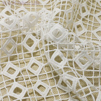 The Water Soluble Lace Fabric Grid Mesh Weft Luxury Dress Fabric Polyester Textured Fabric 135cm 5yards