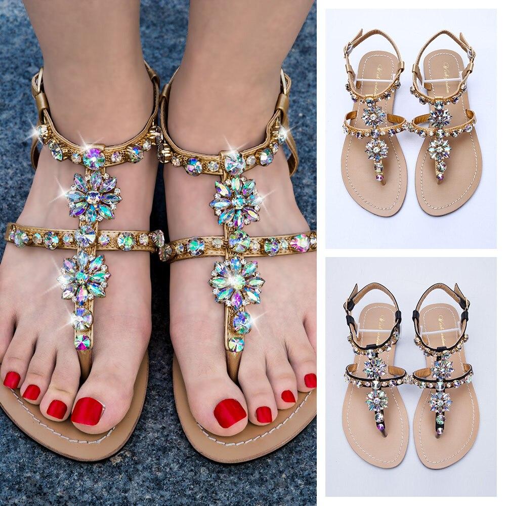 2019 NEW Women`s Beach Shining Rhinestones Shoes Summer Bohemia Diamond Sandals T-strap Thong Flip Flops Comfortable Boho Shoes