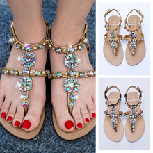 2019 NEW Women`s beach shining rhinestones shoes summer bohemia diamond sandals T-strap thong flip flops comfortable Boho