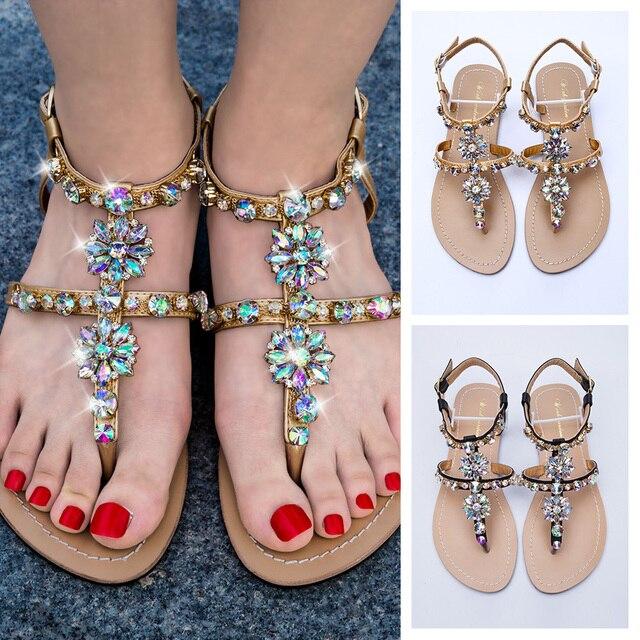 2019 della spiaggia delle NUOVE donne brillante strass scarpe estate della boemia del diamante sandali T-strap perizoma infradito comodi della Boho scarpe