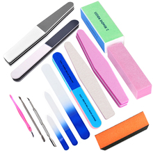 2017 Unique Tools 14pcs/Pack Manicure Tools Set&Kit Nail File Buffer Sanding File Polishing Brush Dead Skin Fork Foam Nail Art