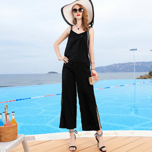 Pant Suits Woman 2019 Spring Summer New Womens Solid Color Fashion Casual suit Camis Top + Wide Leg Pants Two-piece Set M-3XL