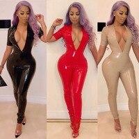 Women's Deep V Neck Half Sleeve PVC jumpsuit PU shiny Bodycon Romper bodysuit catsuit Plus velvet clubwear playsuit