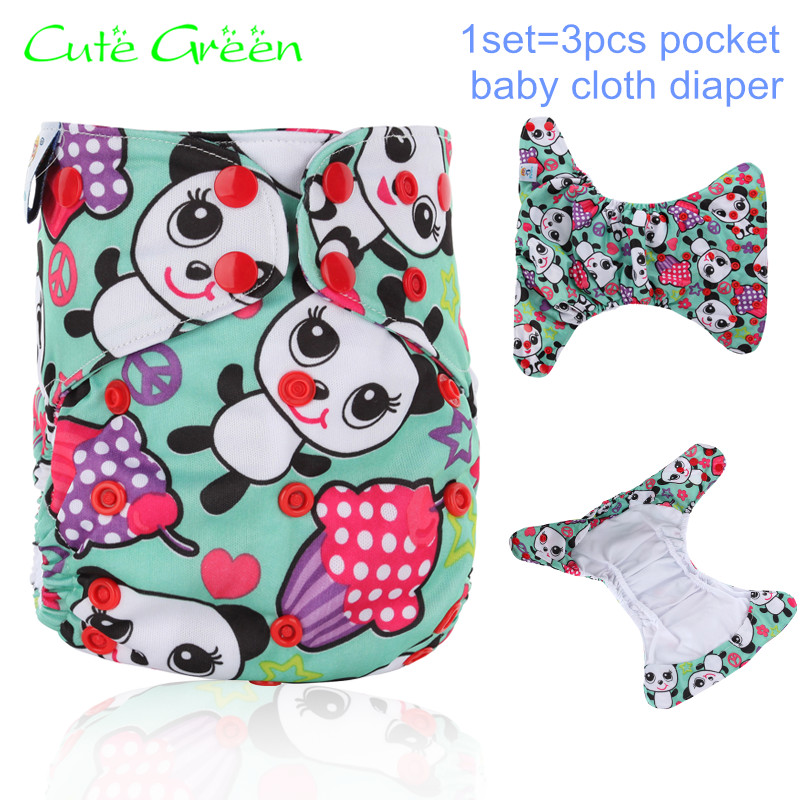3pcs Double Gusset PUL Pocket Diaper;Baby Cloth Diapers Reusable;Washable Baby Nappies Pant;Ecological Diapers Baby Diaper Cover