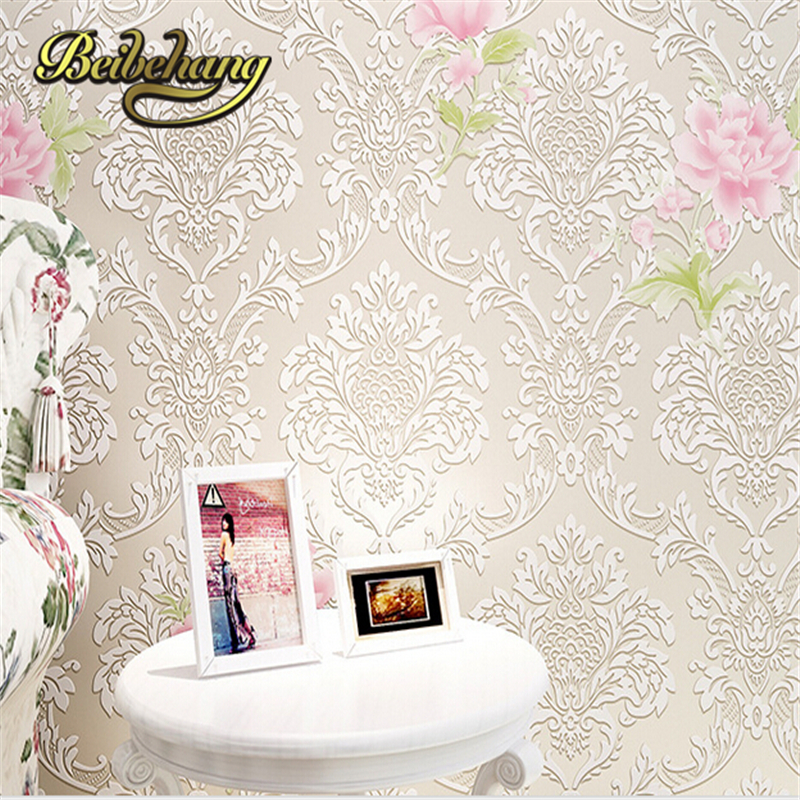 beibehang 3D three-dimensional relief of European non-woven wallpaper warm living room bedroom garden papel de parede цепочка