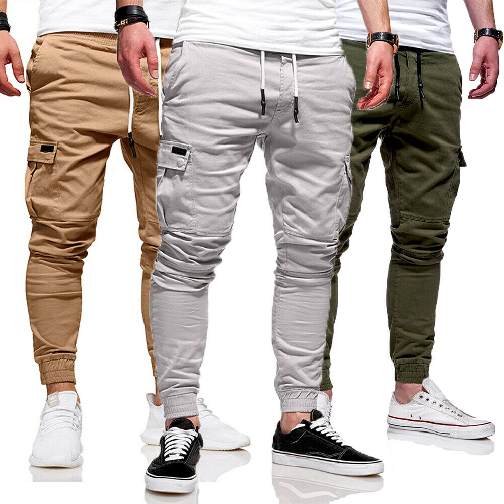 Men Leggings Pantalon Cargo-Pants Long-Trousers Casual Joggers Elastic Military Army title=