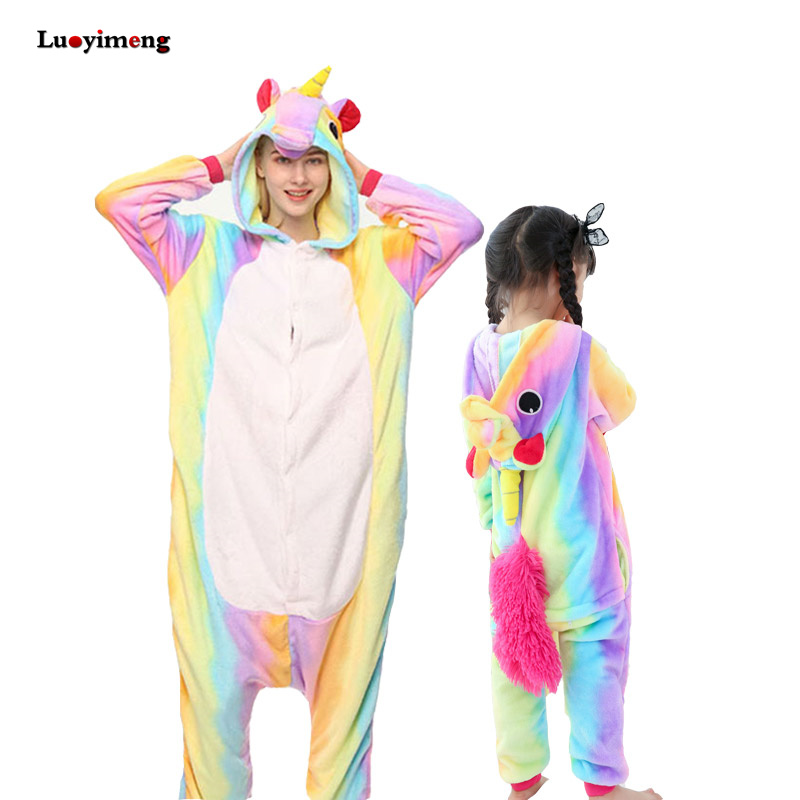 Baby Girl Clothes Boys Rainbow Unicorn Pajamas Winter Women Flannel Kigurumi Animal Hooded Stitch Onesie Sleepwear Kids Pyjamas christmas rainbow unicorn animal family onesie pajamas