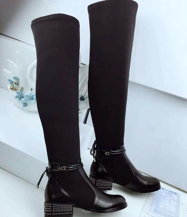 New fashion high quality leather boots  over the knee woman boots rivets studded thick heels long boots winter boots