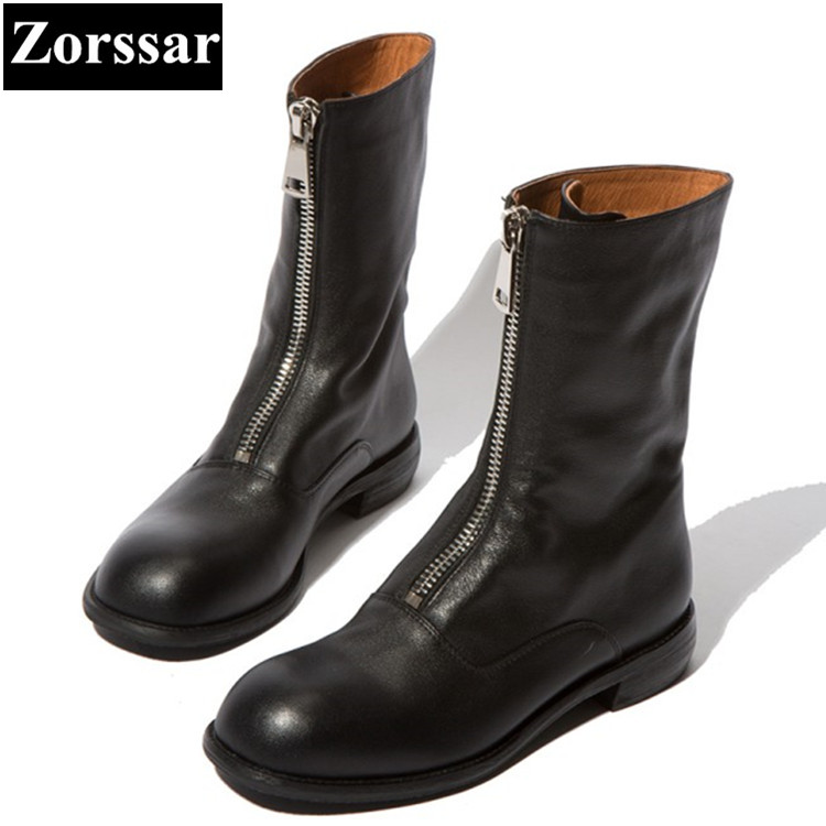 {Zorssar} 2018 NEW Fashion Women Knight Boots Flat heel Mid-Calf boots Leisure womens Motorcycle boots winter female flats shoes stylish women s mid calf boots with solid color and fringe design