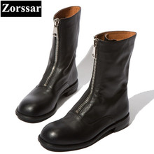 hot deal buy {zorssar} 2018 new fashion women knight boots flat heel mid-calf boots leisure womens motorcycle boots winter female flats shoes