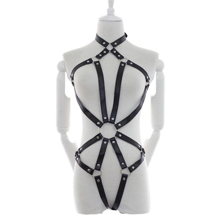 Buy Adjustable black leather bondage fetish wesr sex slave adult sex products,bdsm bondage restraints erotic sex toys woman