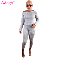 Adogirl Women Knitted Sweater Two Piece Set Plain Fashion Streetwear Sexy Slash Neck Long Sleeve Pullover Top + Pencil Pants
