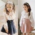 2017 Conjuntos de Vestuário Infantil Meninas Vestido + Lace T Camisa 2 peças Definir Princesa Do Bebê Crianças Nova Primavera Roupas Para Crianças Coreano escola