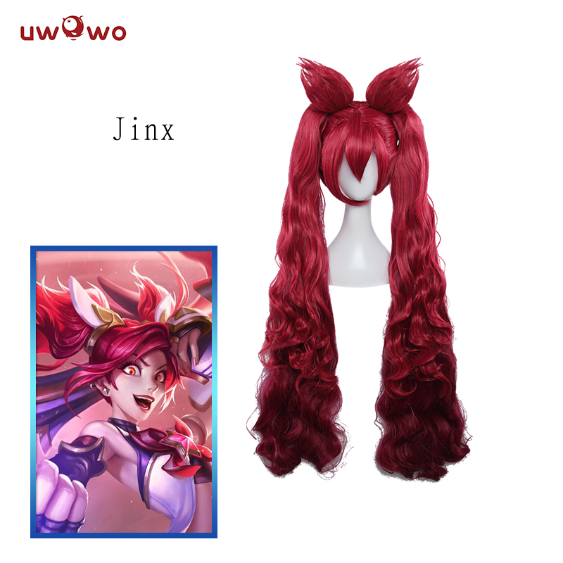 UWOWO Star Guardians Jinx LOL Wig 100 CM RedHeat Resistant Synthetic Cosplay Hair LOL Jinx Wig mcoser lol cosplay jinx wig 130cm long blue braids wig heat resistant top quality free shipping