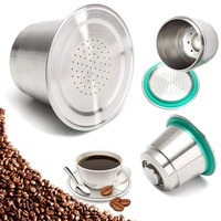 Coffee Metal Capsule Cup Stainless Steel Fine Grind Reusable Refillable For Nespresso Refillable Easy To Clean