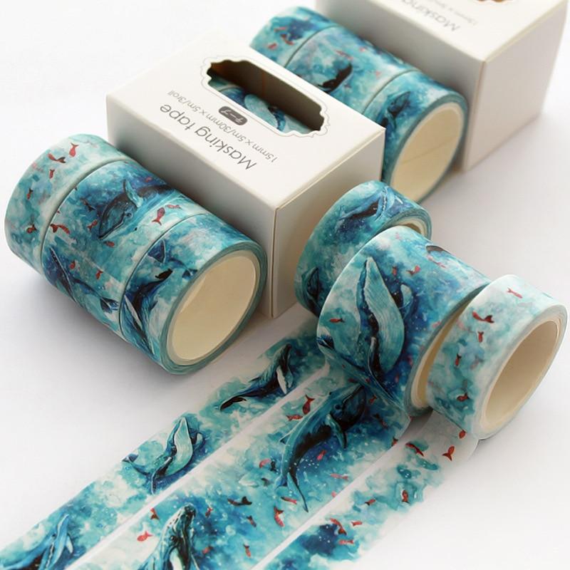 3 Pcs/pack Cute Cloud Fish Bullet Journal Washi Tape Set Adhesive Tape DIY Scrapbooking Sticker Label Japanese Masking Tape