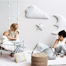 3pcs star moon cloud Wall Hanging Doll Baby Comforting Plush Stuffed Room Decoration Mainan Krismas Birthday Gift Dash Bantal