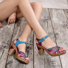 夏オリジナルのぞき見つま先靴女性サンダル本革アンクルストヒール靴女性プラットフォームサンダル 2019